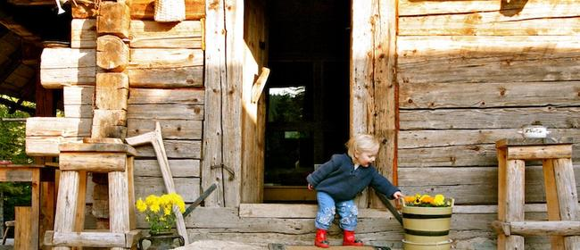 Wooden house and a happy child